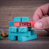 Ethics Business Concept With Colorful Wooden Blocks